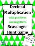 Decimal Multiplication with Positives and Negatives Scavenger Hunt Game