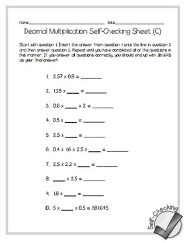 Decimal Multiplication Self-Checking Worksheets - Differentiated