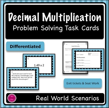 Decimal Multiplication Differentiated Word Problem Task Cards