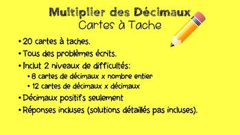 Word Problem Decimal Multiplication Task Cards- French Immersion