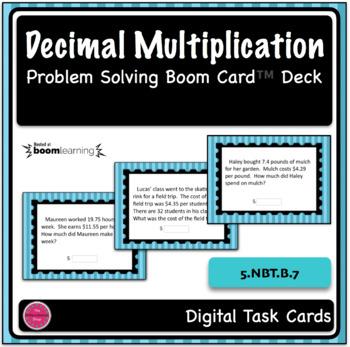 Decimal Multiplication Word Problem Boom Card Deck