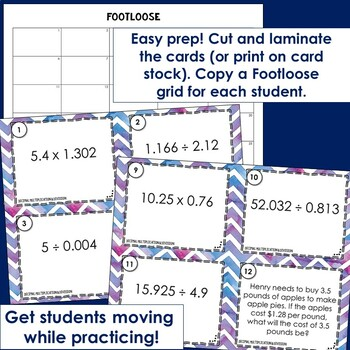 Decimal Multiplication and Division Task Cards -Footloose Math Game