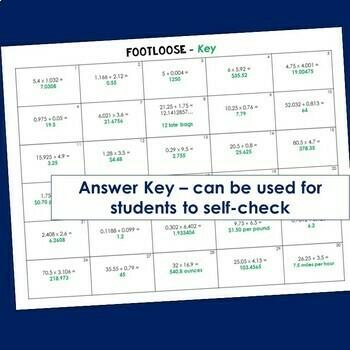 Decimal Multiplication and Division Task Cards -Footloose Math Game