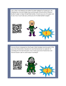 Decimal Multiplication and Division Task Cards: Super Hero Edition