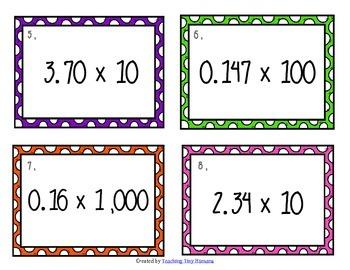 Decimal Multiplication by Powers of Ten Task Cards