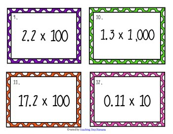 Decimal Multiplication by Powers of Ten Task Cards