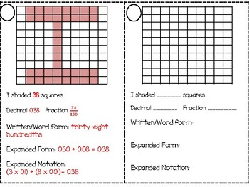 Decimal Place Value Name Activity and Booklet