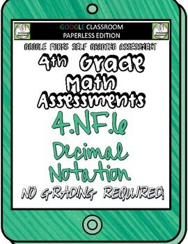 Decimal Notation - 4.NF.6 Self Grading Assessment Google Forms