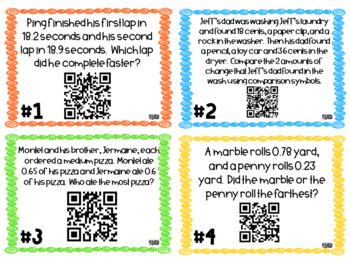 Decimal Notation QR Task Cards (4.NF.7)