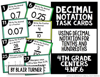 Decimal Notation Task Cards: 4th Grade Math Centers 4.NF.6