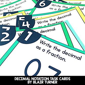 Decimal Notation Task Cards: 4th Grade Math Centers 4.NF.6