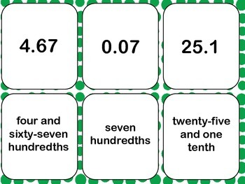 Decimal Number Cards- Great for a Variety of Games