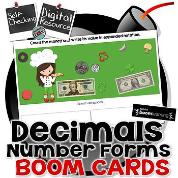 Decimal Number Forms (Expanded Form & Notation) Boom Cards™  Digital Task Cards