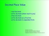 Decimal Number Place Value - Common Core Standards