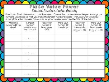 Decimal Number Place Value Relationships Math Center Activity