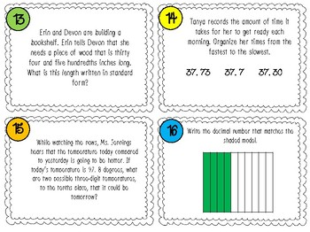 Decimal Number Place Value Task Cards 4th or 5th grade