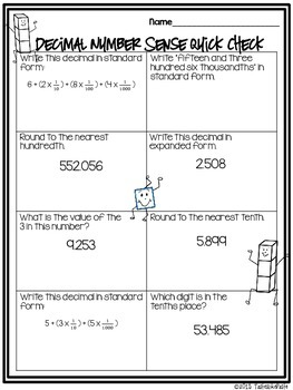 Decimal Number Sense Review 2 Mix n' Mingle *Individual Practice Sheet Included*