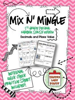 {FREEBIE} Decimal Number Sense Review: Mix n' Mingle + Individual Practice Sheet