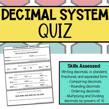 Decimal Number Systems QUIZ