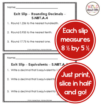 FREE Decimals Exit Slips - 5th Grade
