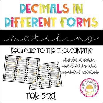 Decimal Numbers in Different Forms Matching Game