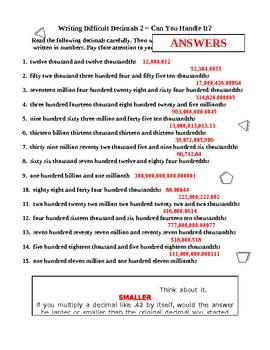 Decimal Numerals Challenge - Writing