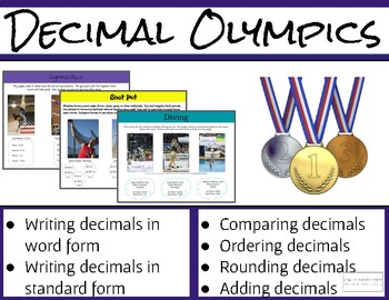 Decimal Olympics--Practice, Review, Place Value, Ordering, more! No Prep!