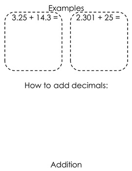 Decimal Operation Flip Book