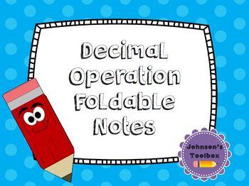 Decimal Operation Foldable Notes