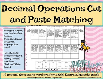 Math Center: Decimal Operations Word Problems Cut and Paste Matching