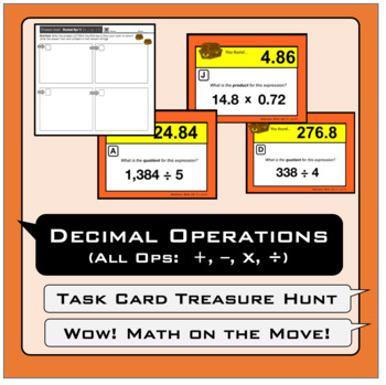 Decimal Operations (#2) Task Cards Treasure Hunt/ Scavenger Hunt/ Carousel