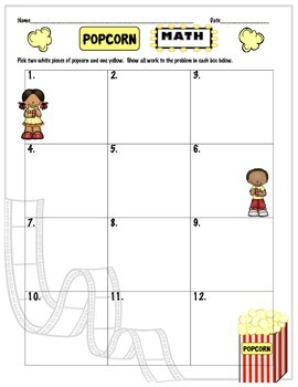 Decimal Operations (Add/Subtract/Multiply/Divide)-Popcorn Math Review Activity