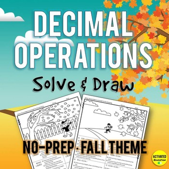Autumn Decimal Operations Solve & Draw Practice