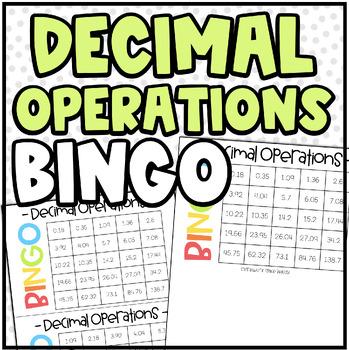 Decimal Operations BINGO