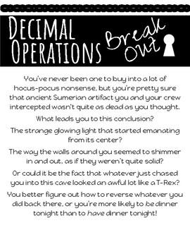 Decimal Operations Escape Room Break Out