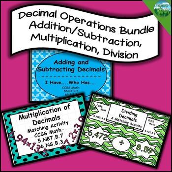 Decimal Operations Bundle - 3 Activities