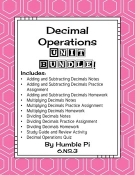 Decimal Operations Bundle-6.NS.3