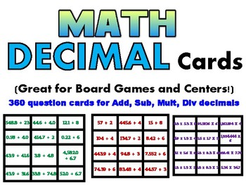 Decimal Operations Cards - 3 levels (add,sub,mult, div) Great for gr 3-6