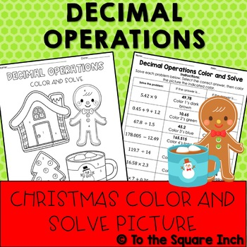 Decimal Operations Christmas Color and Solve