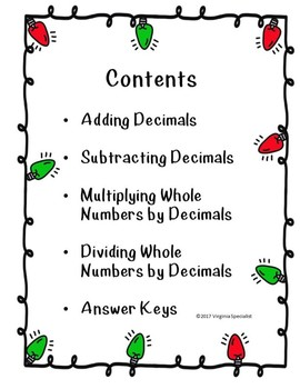 Decimal Operations Christmas Pack
