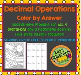 Decimal Operations Color By Answer