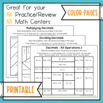 Decimal Operations Color with Math