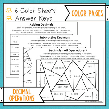 decimal operations color with math by misty miller tpt. Black Bedroom Furniture Sets. Home Design Ideas