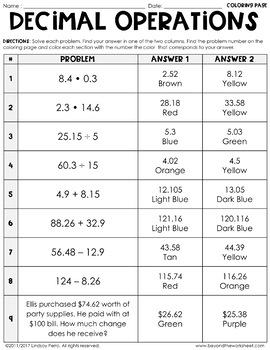decimal operations coloring worksheet by lindsay perro tpt. Black Bedroom Furniture Sets. Home Design Ideas