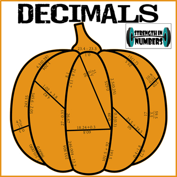 Decimal Operations Cooperative Fall Pumpkin Puzzle (Halloween)