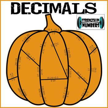 Decimal Operations Cooperative Fall Pumpkin Puzzle (Thanksgiving)