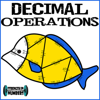 Decimal Operations Cooperative Fish Puzzle for Display