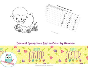Decimal Operations Easter Color by Number