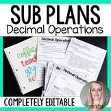 Decimal Operations Substitute Plans
