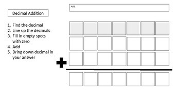 Decimal Operations Fill in the Blank Templates